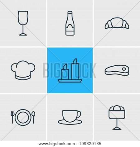 Editable Pack Of Sundae, Food, Tea And Other Elements.  Vector Illustration Of 9 Restaurant Icons.