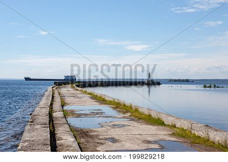 The pier on the sea. the stone pier for fishing