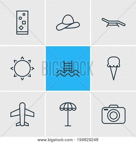 Editable Pack Of Sorbet, Swimming, Sunny And Other Elements.  Vector Illustration Of 9 Summer Icons.