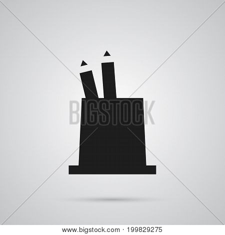 Isolated Pencil Stand Icon Symbol On Clean Background