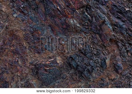 Colorful abstract pattern of rocks in Himalayan Mountains