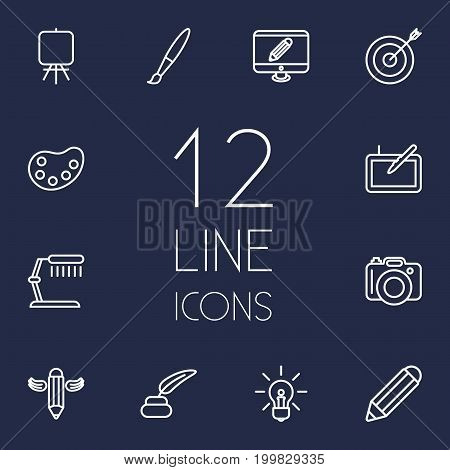 Collection Of Paintbrush, Palette, Easel And Other Elements.  Set Of 12 Creative Outline Icons Set.