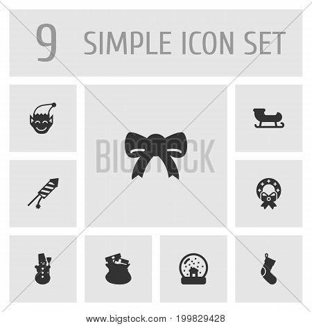 Collection Of Decoration, Magic Sphere, Ice Person And Other Elements.  Set Of 9 Christmas and New Year Icons Set.