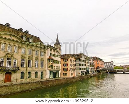 The view of Zurich and river Limmat at Switzerland at cloudy day