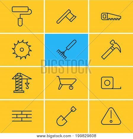 Editable Pack Of Road Sign, Lifting, Harrow And Other Elements.  Vector Illustration Of 12 Industry Icons.
