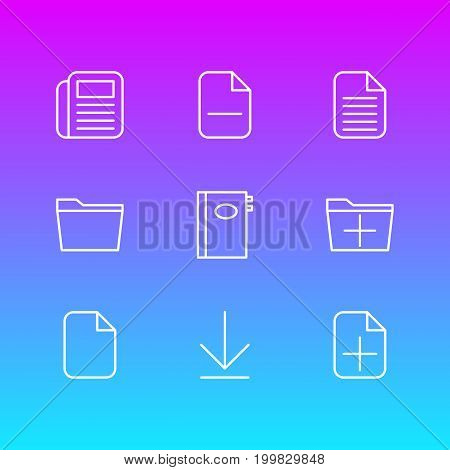 Editable Pack Of Minus, Journal, Book And Other Elements.  Vector Illustration Of 9 Workplace Icons.