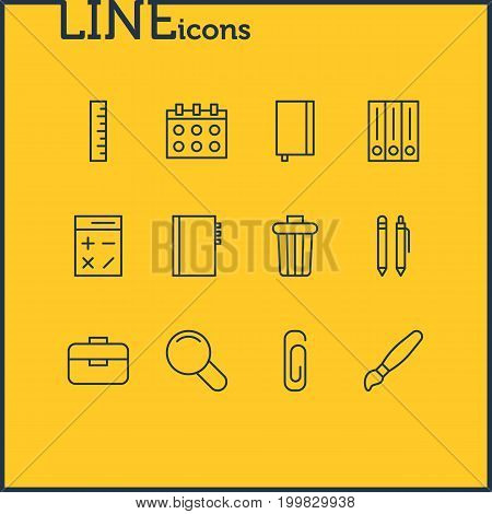 Editable Pack Of Paperclip, Pencil, Copybook And Other Elements.  Vector Illustration Of 12 Tools Icons.