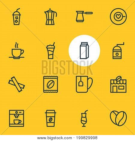 Editable Pack Of Coffeemaker, Soft Beverage, Sweetener And Other Elements.  Vector Illustration Of 16 Drink Icons.