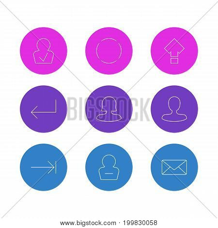 Editable Pack Of Repeat, Displacement, Approved Profile And Other Elements.  Vector Illustration Of 9 Interface Icons.