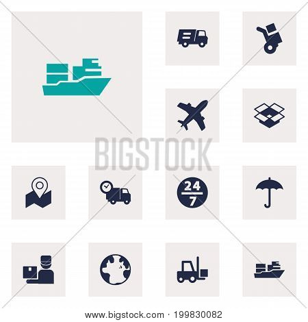 Collection Of Parcel, Transportation, World And Other Elements.  Set Of 12 Shipping Icons Set.