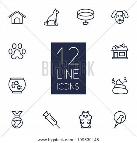 Collection Of Collar, Pile Of Poo, Dog And Other Elements.  Set Of 12 Pets Outline Icons Set.