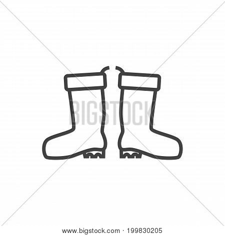Isolated Rubber Boots Outline Symbol On Clean Background