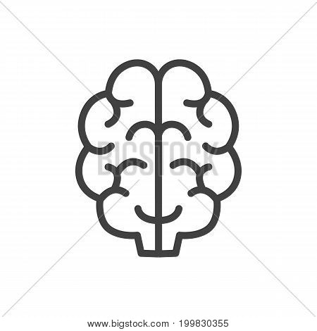 Vector Brain Element In Trendy Style.  Isolated Intelligence Outline Symbol On Clean Background.