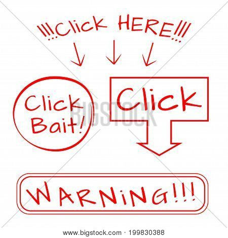 Click bait, HERE, WARNING vector icon set