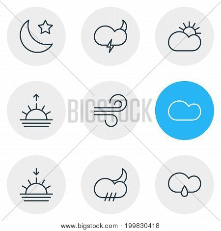 Editable Pack Of Cloudy, Drizzles, Sunset And Other Elements.  Vector Illustration Of 9 Atmosphere Icons.