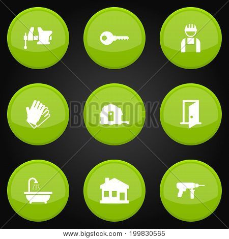 Collection Of Worker, Gauntlet, Protection And Other Elements.  Set Of 9 Construction Icons Set.