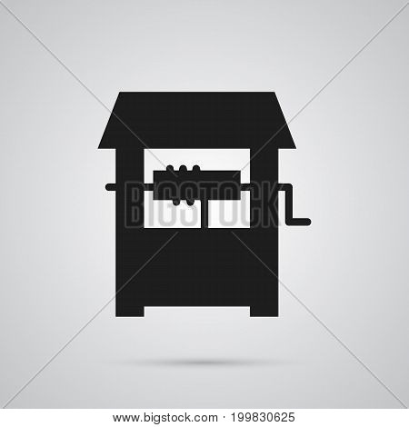 Vector Rural Element In Trendy Style.  Isolated Well Icon Symbol On Clean Background.