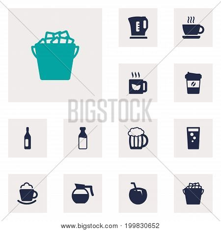 Collection Of Espresso, Cream, Fridge And Other Elements.  Set Of 12 Beverages Icons Set.