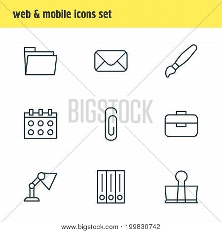 Editable Pack Of Letter, Dossier, Binder Clip And Other Elements.  Vector Illustration Of 9 Instruments Icons.
