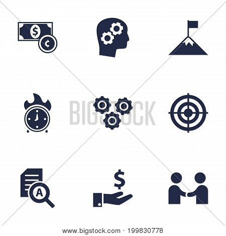 Collection Of Document Checking, Goal, Thinking Head And Other Elements.  Set Of 9 Strategy Icons Set.