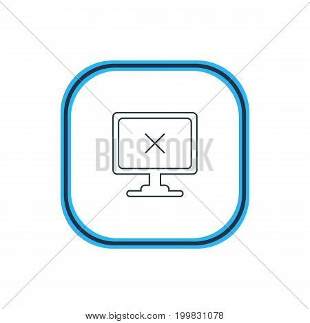 Beautiful Computer Element Also Can Be Used As Access Denied Element.  Vector Illustration Of Offline Computer Outline.