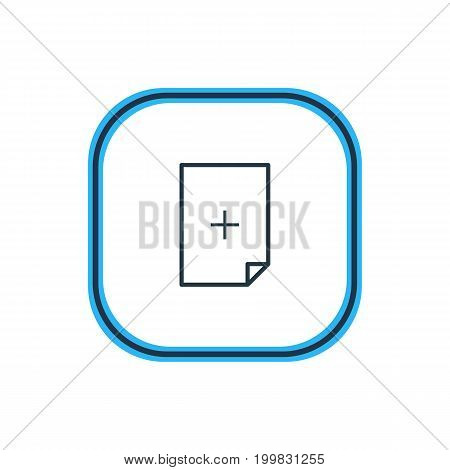 Beautiful File Element Also Can Be Used As Plus Element.  Vector Illustration Of Add Outline.
