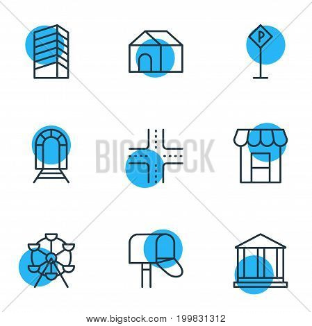 Editable Pack Of Skyscraper, Courthouse, Mail Box And Other Elements.  Vector Illustration Of 9  Icons.