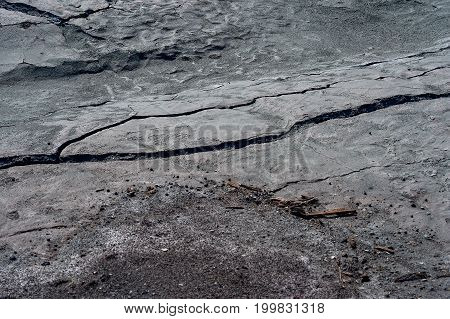 Cracks on the surface of dry land.