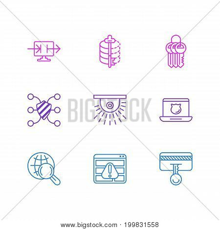 Editable Pack Of Camera, Safety Key, Encoder And Other Elements.  Vector Illustration Of 9 Data Icons.