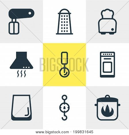 Editable Pack Of Oven, Stewpot, Round Slicer And Other Elements.  Vector Illustration Of 9 Cooking Icons.