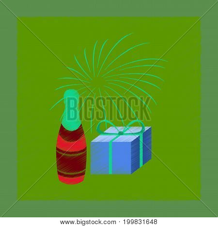 flat shading style icon of fireworks champagne gift