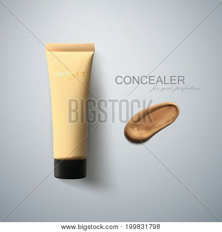 Concealer package and smear strokes swatch. Cosmetic product advertising poster template. Women beauty makeup illustration. Liquid foundation daub. Tone cream tube design. 3d realistic vector