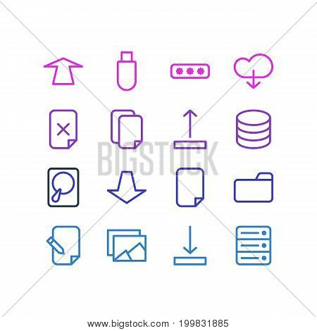Editable Pack Of Datacenter, Agreement, Downward And Other Elements.  Vector Illustration Of 16 Archive Icons.