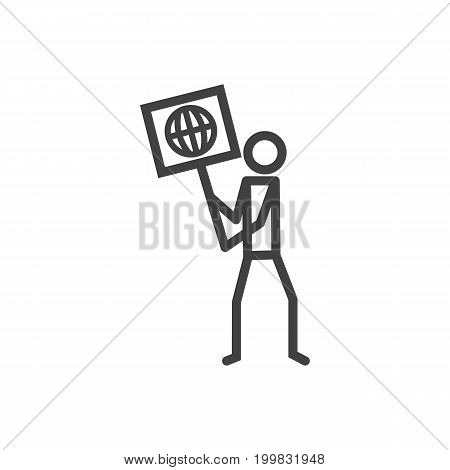 Vector Ecologist Element In Trendy Style.  Isolated Volunteer Outline Symbol On Clean Background.
