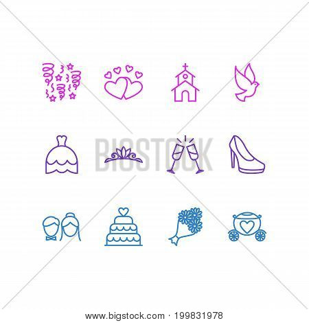 Editable Pack Of Wineglass, Chariot, Pigeon And Other Elements.  Vector Illustration Of 12 Marriage Icons.