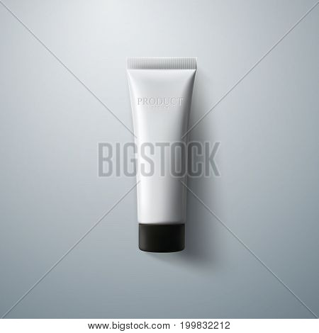 Cosmetic packaging design. White cream tube. 3d realistic vector illustration. Cosmetics mockup for branding. Beauty makeup product. Top view