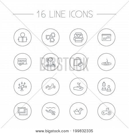 Collection Of Fishing, Photography, Aquarium And Other Elements.  Set Of 16 Hobbie Outline Icons Set.