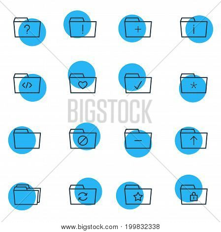 Editable Pack Of Locked, Closed, Folders And Other Elements.  Vector Illustration Of 16 Document Icons.