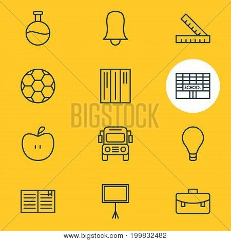 Editable Pack Of Tube, School, Football And Other Elements.  Vector Illustration Of 12 Education Icons.