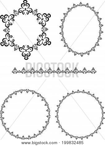 set of round frames with ornament vector