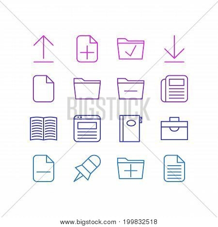 Editable Pack Of Template, Book, Install And Other Elements.  Vector Illustration Of 16 Workplace Icons.
