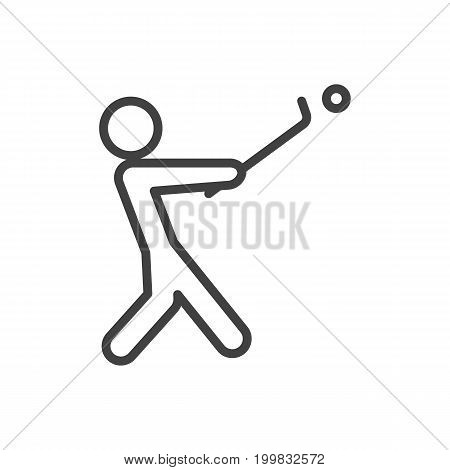 Vector Stick Element In Trendy Style.  Isolated Golf Outline Symbol On Clean Background.