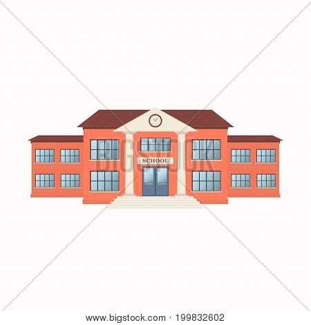 School building exterior isolated on white background. Front view. Vector