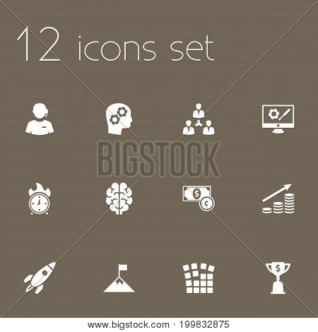 Collection Of Intelligence, Money Growth, Goblet And Other Elements.  Set Of 12 Strategy Icons Set.