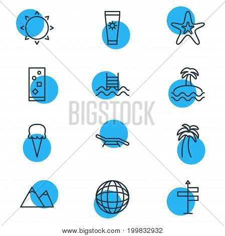 Editable Pack Of Sunny, Guide, Hill And Other Elements.  Vector Illustration Of 12 Summer Icons.