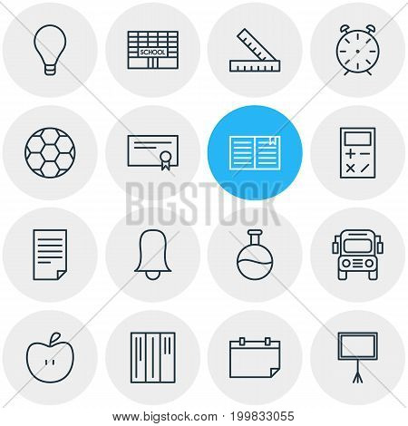 Editable Pack Of Paper, Calculate, Meter And Other Elements.  Vector Illustration Of 16 Education Icons.