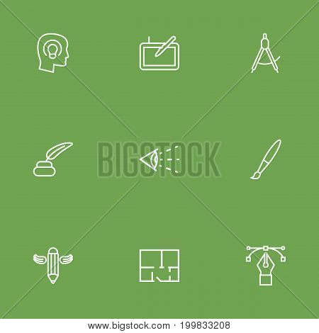 Collection Of Paintbrush, Writing, Graphic Tablet And Other Elements.  Set Of 9 Constructive Outline Icons Set.