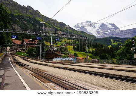 Wengernalpbahn railway station in car free village Wengen with the mountain Jungfrau in the background. Wengen Bernese Oberland Switzerland