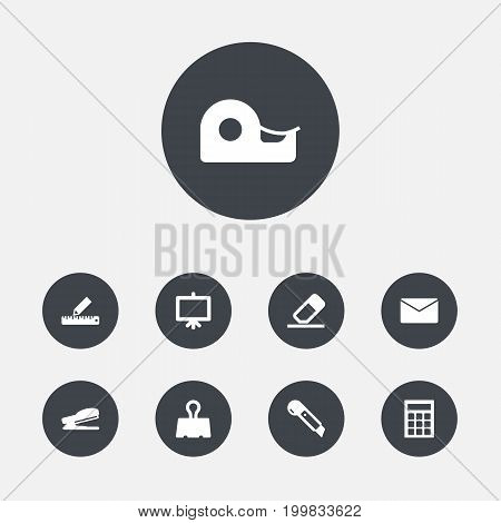 Collection Of Knife, Paper  Clamp, Sticky And Other Elements.  Set Of 9 Stationery Icons Set.