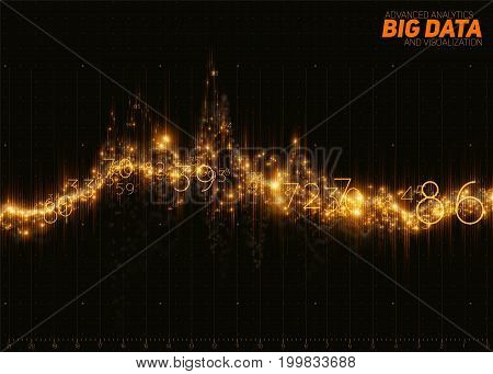 Vector abstract golden financial big data graph visualization. Futuristic infographics aesthetic design. Visual information complexity. Intricate data threads chart. Business analytics.